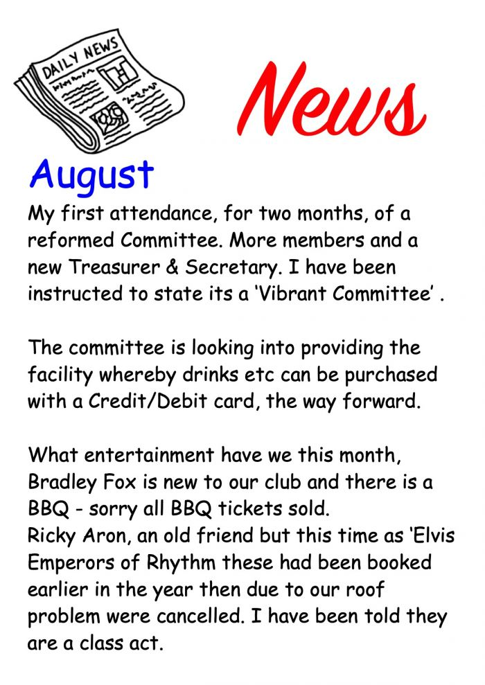 August News of whats on in the club