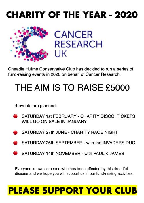 Charity Page detailing our nights to raise funds for Cancer Reseach