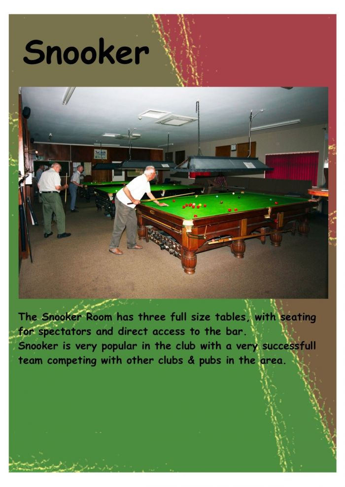 Page featuring snooker table and depails